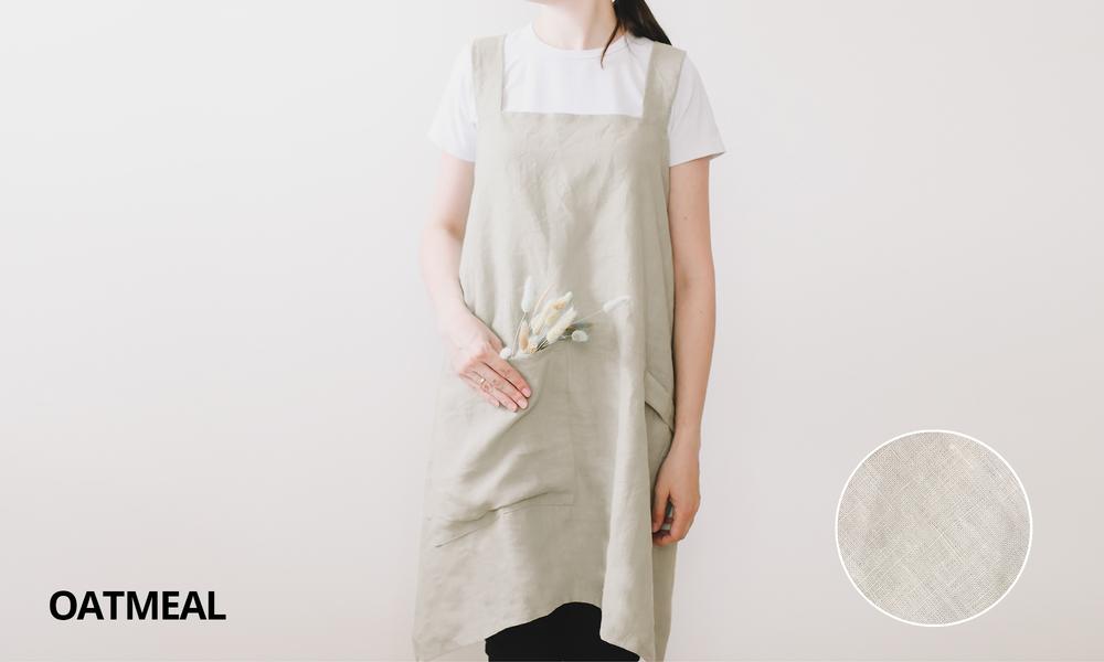 Oatmeal french linen apron 2353   web1
