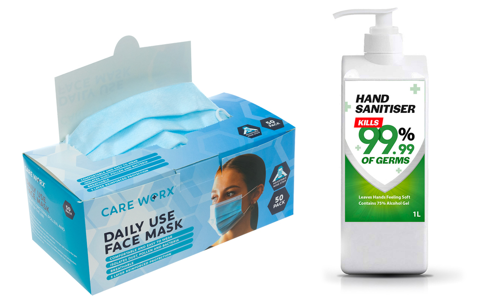 Protective face masks %2850pk%29 and 1l hand sanitiser 2481   web1
