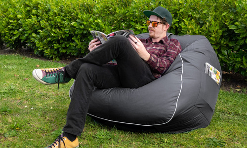 Charcoal   large round beanbag   web1