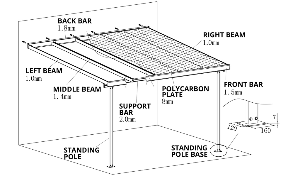 Wall mount patio covers measurement   web