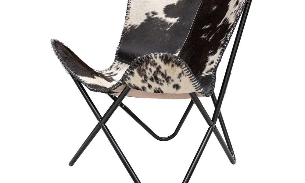 Cowprint genuine leather butterfly chair   web4