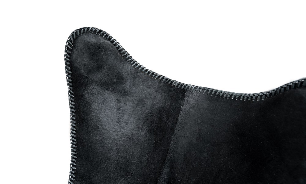 Black genuine leather butterfly chair   web2