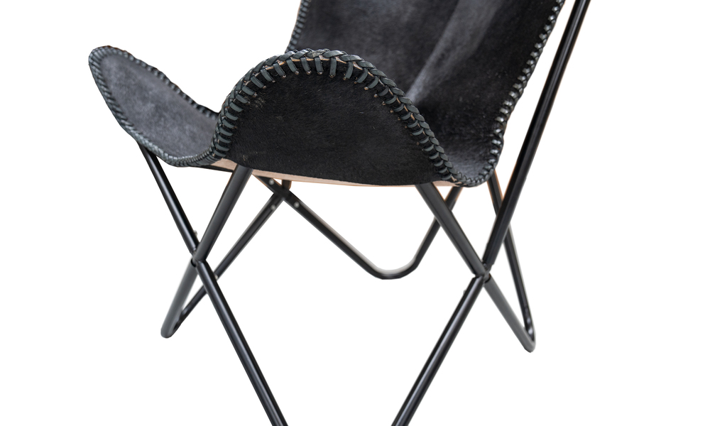 Black genuine leather butterfly chair   web4