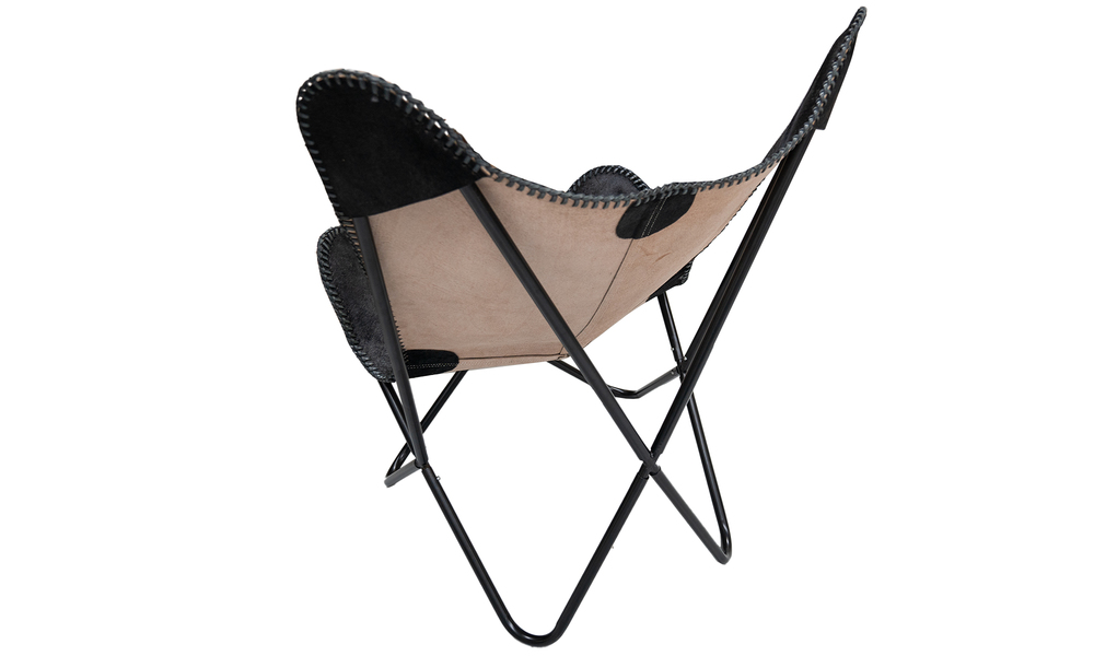 Black genuine leather butterfly chair   web5