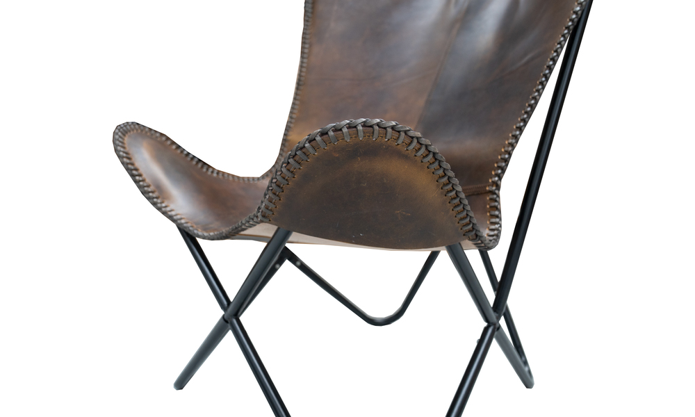 Chocolate genuine leather butterfly chair   web4