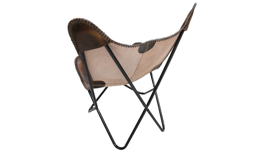 Chocolate genuine leather butterfly chair   web5
