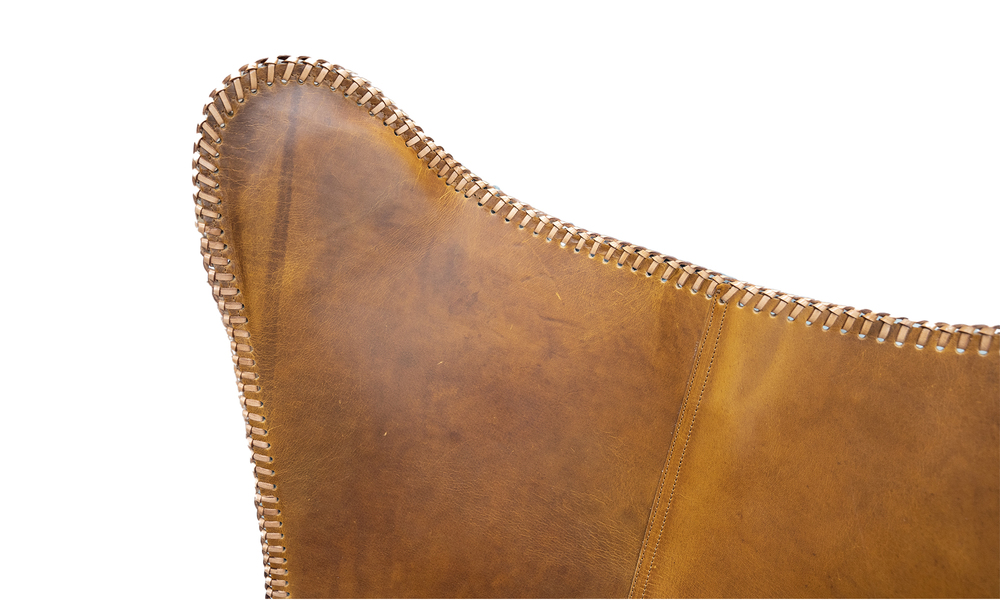 Tan genuine leather butterfly chair   web2