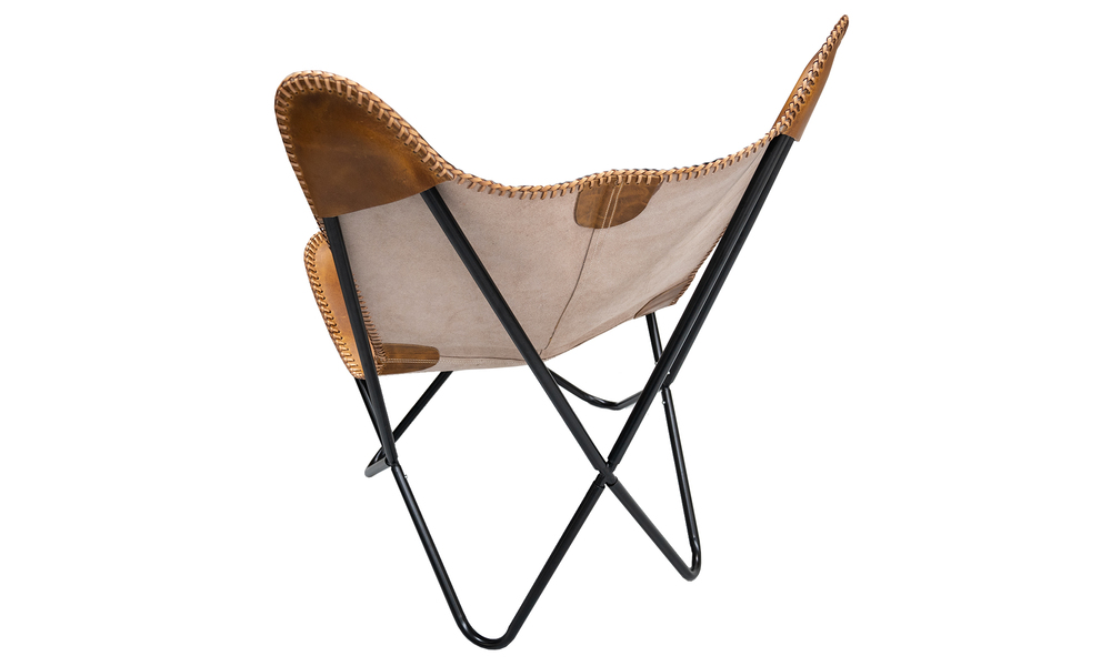 Tan genuine leather butterfly chair   web5