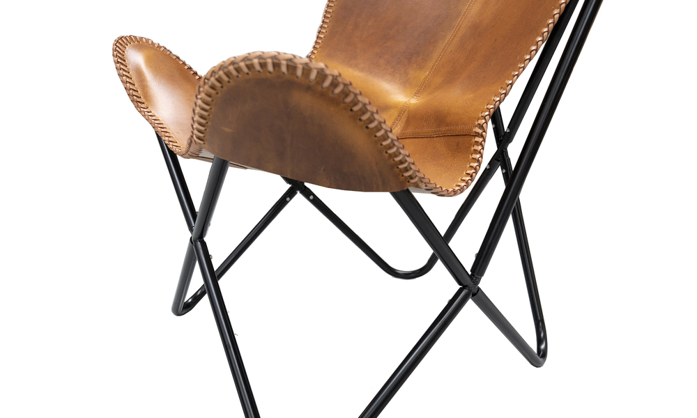 Tan genuine leather butterfly chair   web4