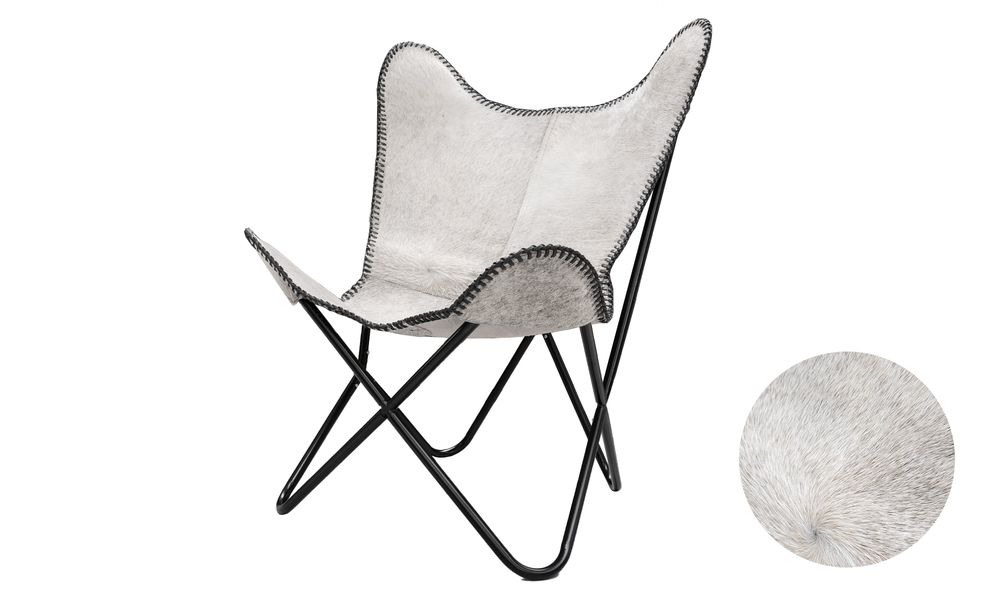 White genuine leather butterfly chair   web1
