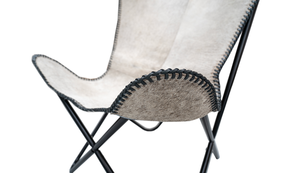 White genuine leather butterfly chair   web4