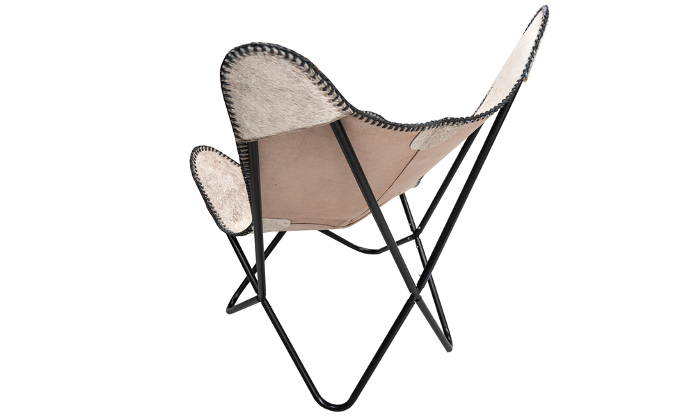White genuine leather butterfly chair   web5