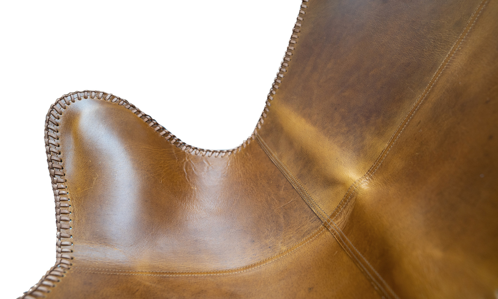 Tan genuine leather butterfly chair   web3