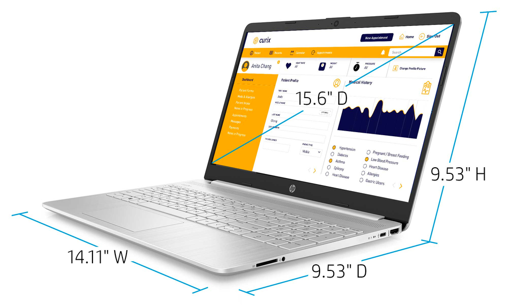 Hp 15.6  i3 8gb 256gb laptop silver 2596   web5