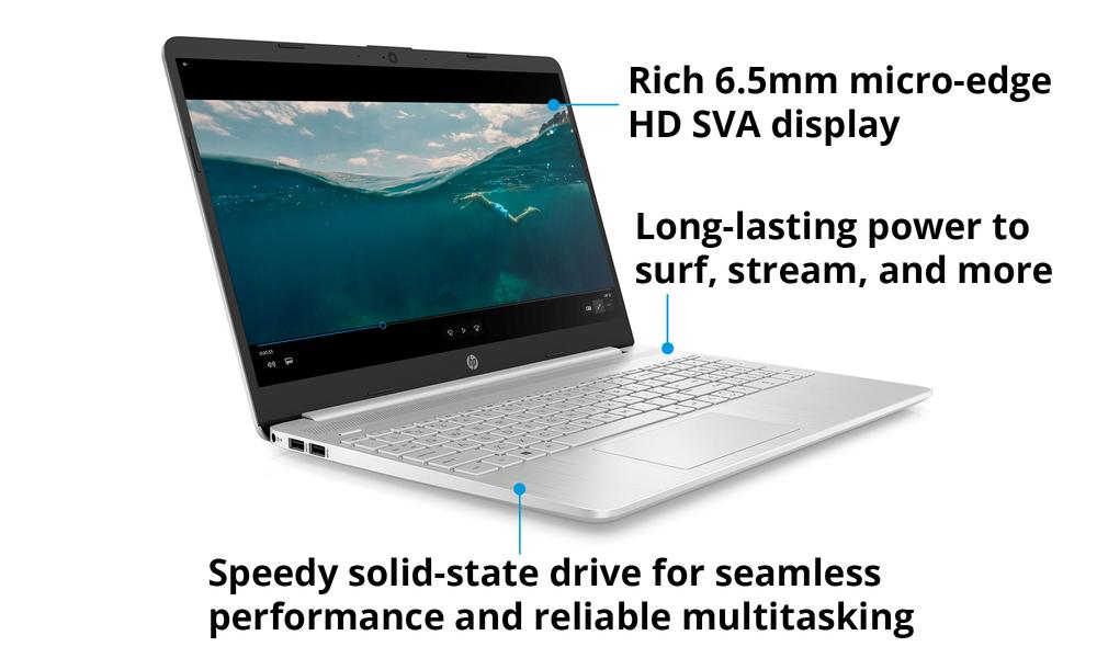 Hp 15.6  i3 8gb 256gb laptop silver 2596   web4