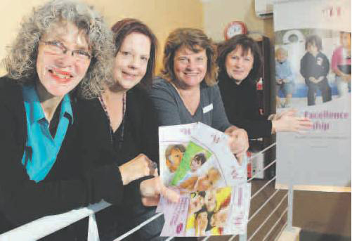 Beth Clarke, foster carer Gloria, social worker Susan Queen and family support worker Linda Smith at Wanslea's new Clarkson office. Picture: Bruce Hunt d384861