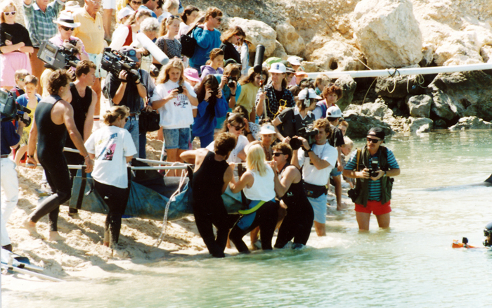 Atlantis Marine Park's rehabilitation project saw a dolphin transported to a sea pen at Two Rocks Marina in October 1991. Picture courtesy Wanneroo Regional Museum