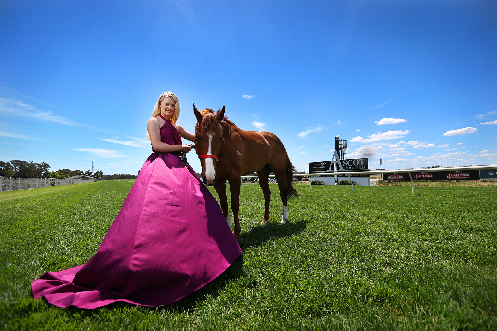 Lucy Warwick (18), pictured with Koi Mac, can match it with the best in the fashion stakes as well as on the track.Picture: Andrew Ritchie  d446295
