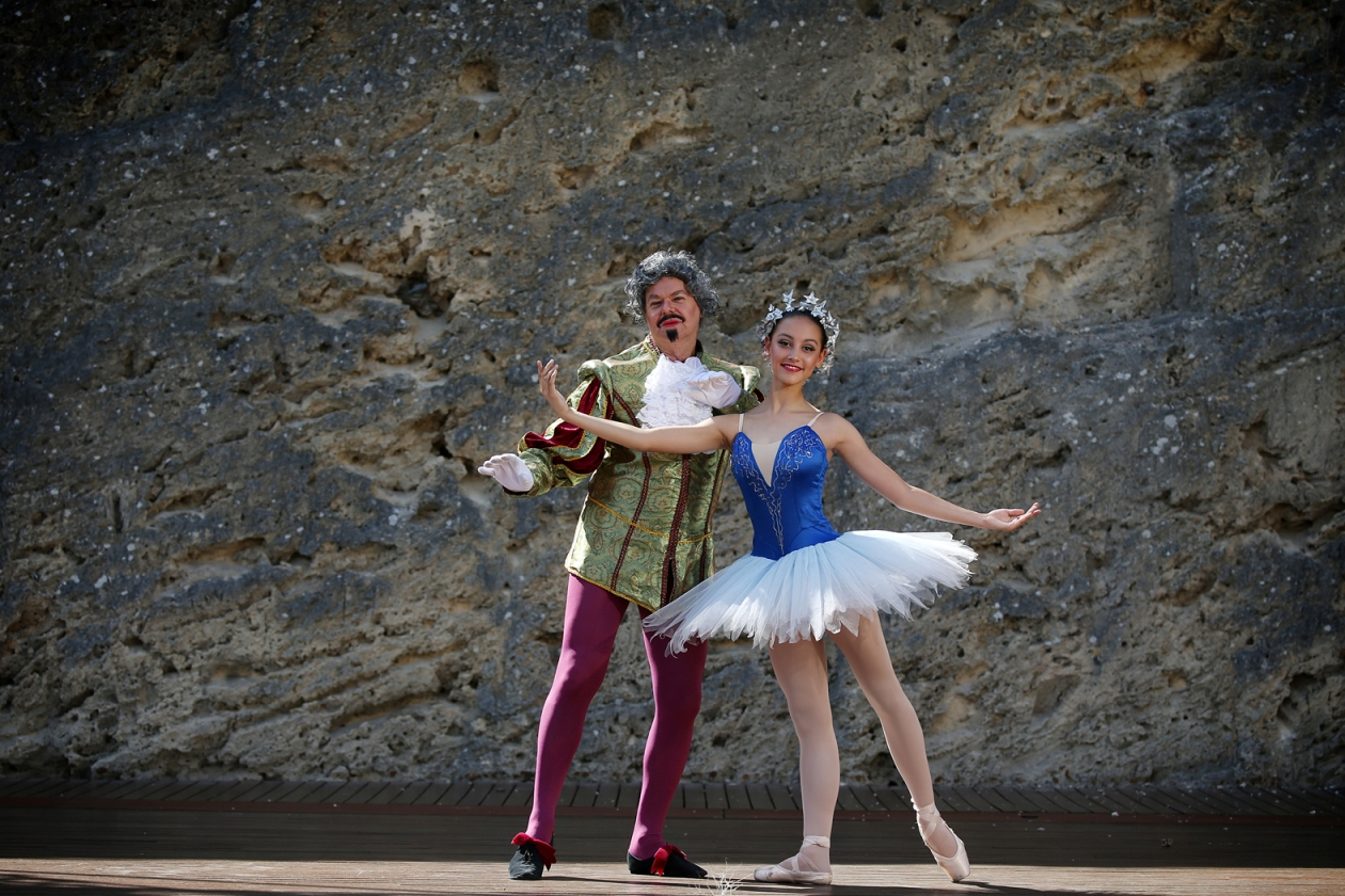 Alex Poor (74) and his granddaughter Iesha Poor (14) of Darch will both be dancing in Perth City Ballet's production of Don Quixote. Picture: Andrew Ritchie d448347