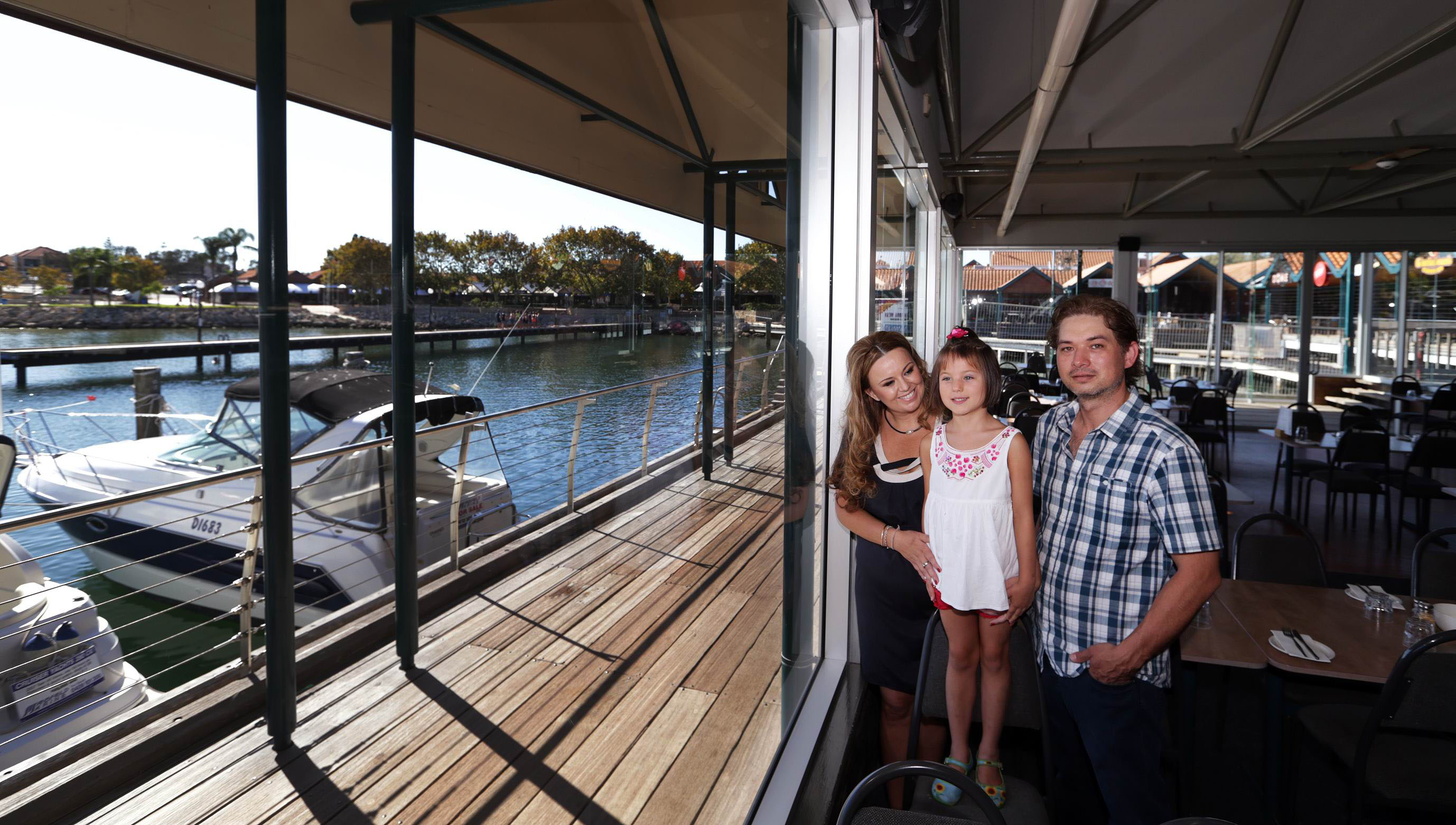 Jetty's owners Mark and Maria Dau (Wanneroo) and daughter Sophie (6).