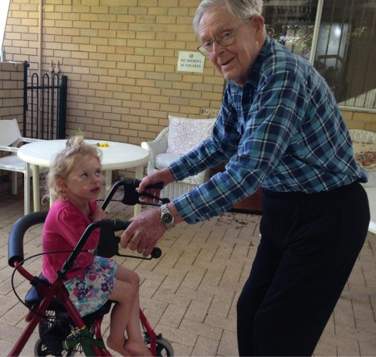 Peter Chapple with his granddaughter Leah.