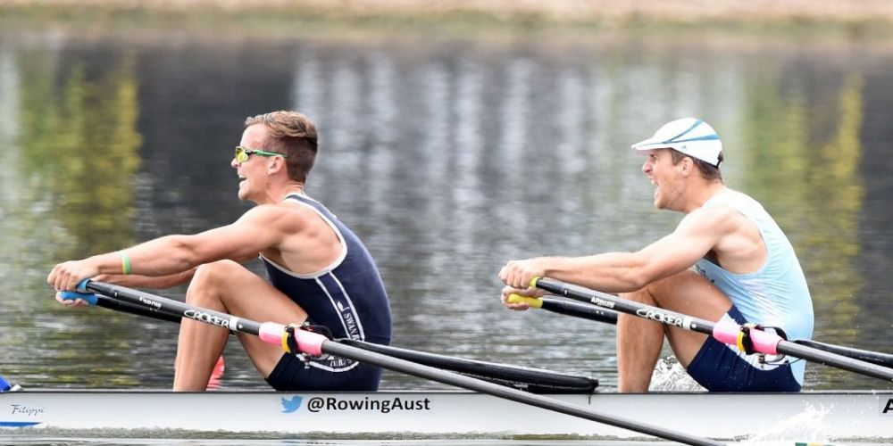 Swan River Rowing Club's David Watts with Australian rowing team crewmate Chris Morgan.