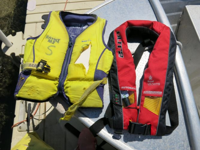 A new lifejacket (right) alongside an old one.