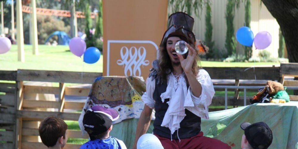 Pirateman Michael Speranza during the Big Day Out at Adventure World.