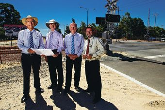Southern River MLA Peter Abetz, Riverton MLA Mike Nahan, Senate opposition leader Eric Abetz and City of Gosnells Mayor Dave Griffiths.d396123