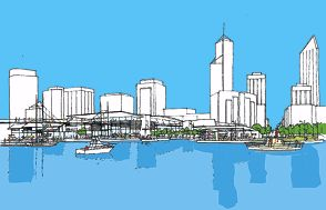 An artist's impression of Max Hipkins' alternative proposal for Elizabeth Quay.