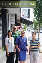 Alannah MacTiernan (centre) with, City of Vincent customer service officer Brodee Albonetti, City of Vincent councillor John Carey and Beaufort Street Books owner Jane Seaton Picture: Marcus Whisson d396386
