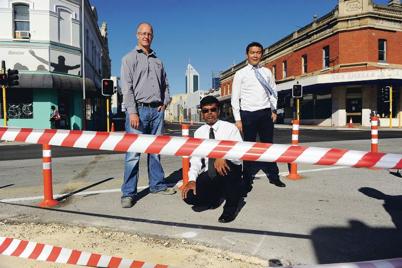 Project manager Nick Lindley, project superintendent Sri Sriranjan and senior civil engineer Shaun Kan. Picture: Marcus Whisson d398692