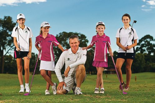 Jaimee Bartle, Grace Overchal, golf coach Mark Tibbles, Ava Young and Rachel Leeds at The Vines Golf and Country Club.