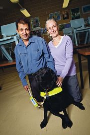 What a woofer: James House with Michele O'Neill and Hillsy the guide dog.