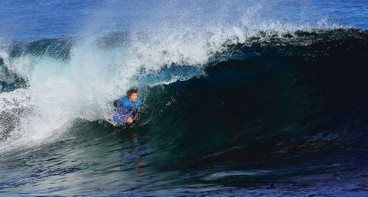 Lewy Finnegan made a welcome return to the WA Bodyboard Titles, winning the blue ribbon Open Men's division in style. Picture: Surfing WA/Woolacott