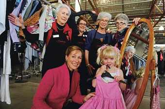 Patron Tonya McCusker with daughter Mary and Bindaring Red Cross founders Diana Deykin, Noellie Anderson, Jane Morrison and Erin Arundell. Picture: Marcus Whisson www.communitypix.com.au d400525