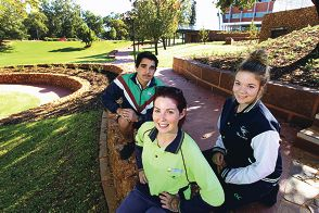 Canning Vale College students Jacob Thomas and Kelly James with second year apprentice Kylie Van Uden (front).Picture: Marcelo Palacios d401778
