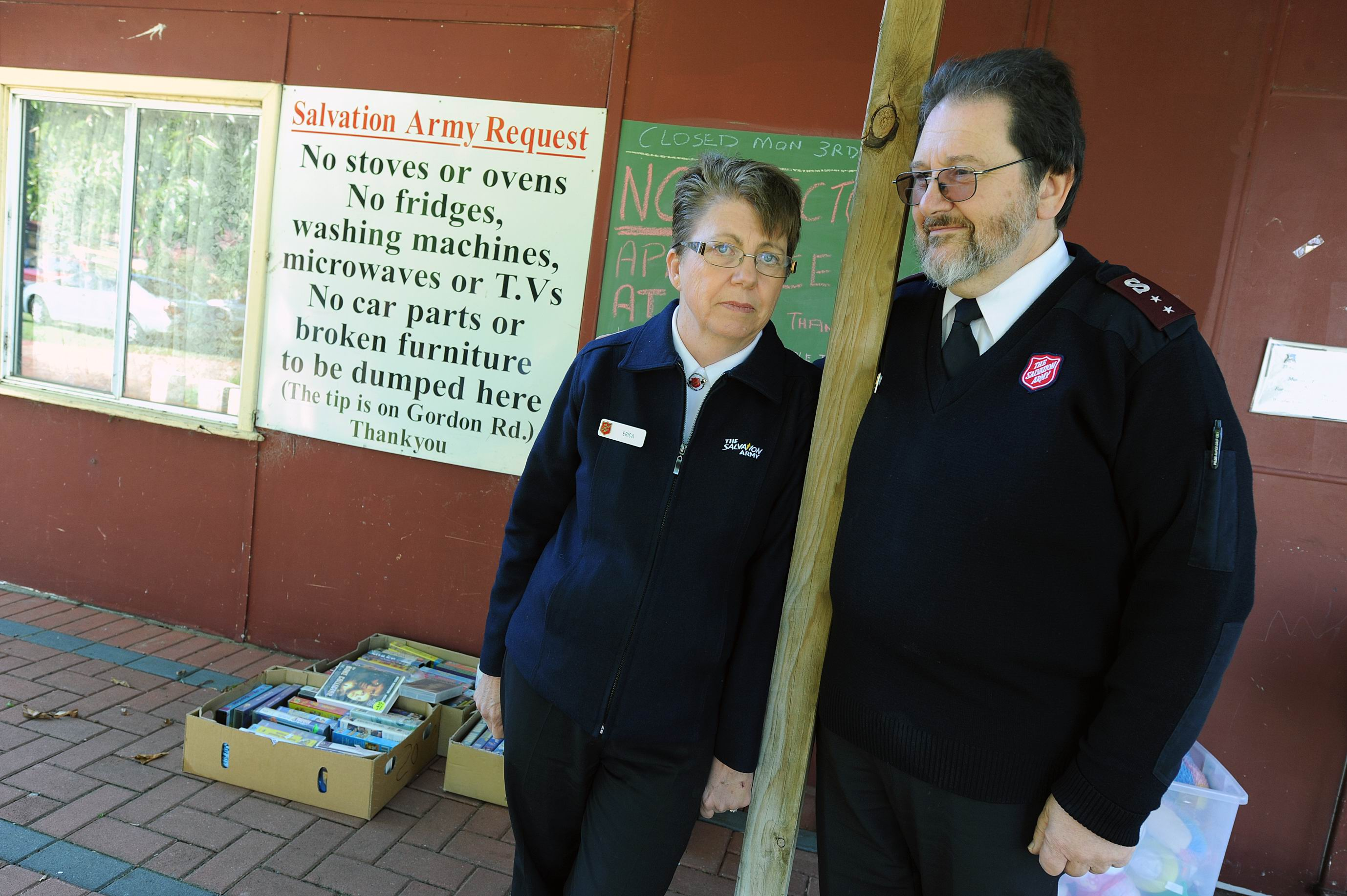 Salvation Army officers Erica and Michael Cossington say another problem is people who steal things donated to the op shop. Picture: Jon Hewson www.communitypix.com.au d402416