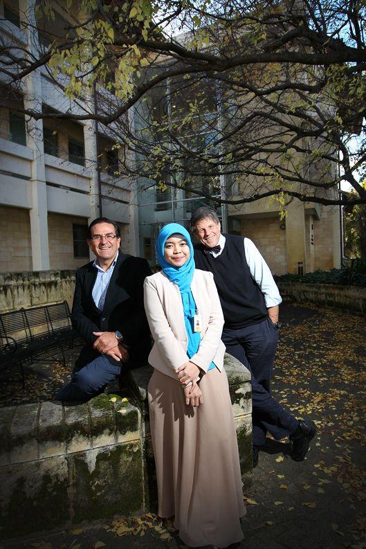 Prof Michael Henderson, Rizka Zainudin and Prof Bruce Robinson. Picture: Andrew Ritchie d402487
