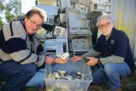 From Left: Graeme Lewis, Merv Britton. Wanneroo Men's Shed reuse, recycle and refurbish old computers to give to pensioners, the unemployed, etc.