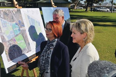 Cockburn Mayor Logan Howlett and Fremantle MHR Melissa Parke talk Prime Minister Julia Gillard through the plans.