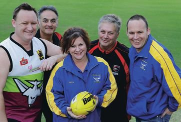 Scott Smedley (Belmont Senior Football Club), Mark Romeo (Belmont Junior Football Club), Peta Healy (Redcliffe Junior Football Club), Paul McGrath (development officer Belmont Senior Football Club) and Rob Irving (Redcliffe Junior Football Club). d402670