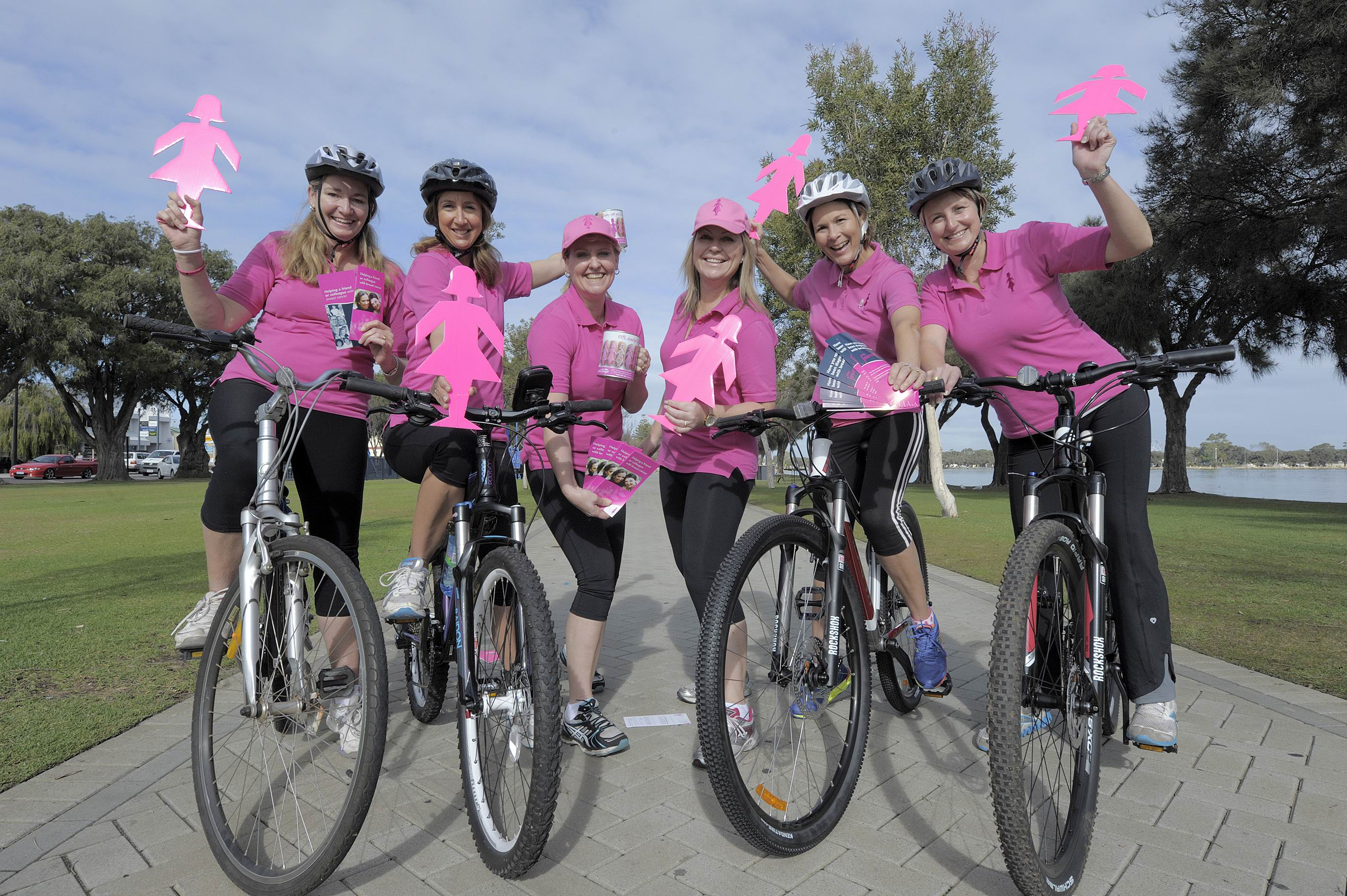"cancer journey. ""My connection with BCNA is a big part of this."" Visit http://bcnapinkpedal2013. gofundraise. com.au Pink cyclists, from left, Lorraine Garbin, Mellinda Govan, Leisa Dawkins, Lee Sieracki, Kelly Hanson and Peta Allen. d403366"