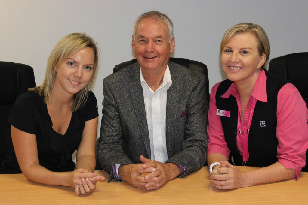 Clinical Midwifery manager Jemma Freegard, Community Board of Advice chairman Don Pember and McGrath Foundation breast care nurse Donna Cook.