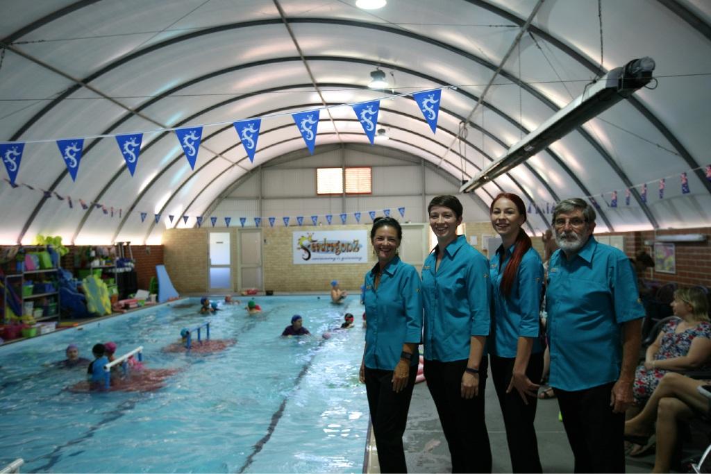 Seadragonz Swim School team members Lari McDonald, Linda Stewart, Maddy Van Elswyk and Bill McDonald.