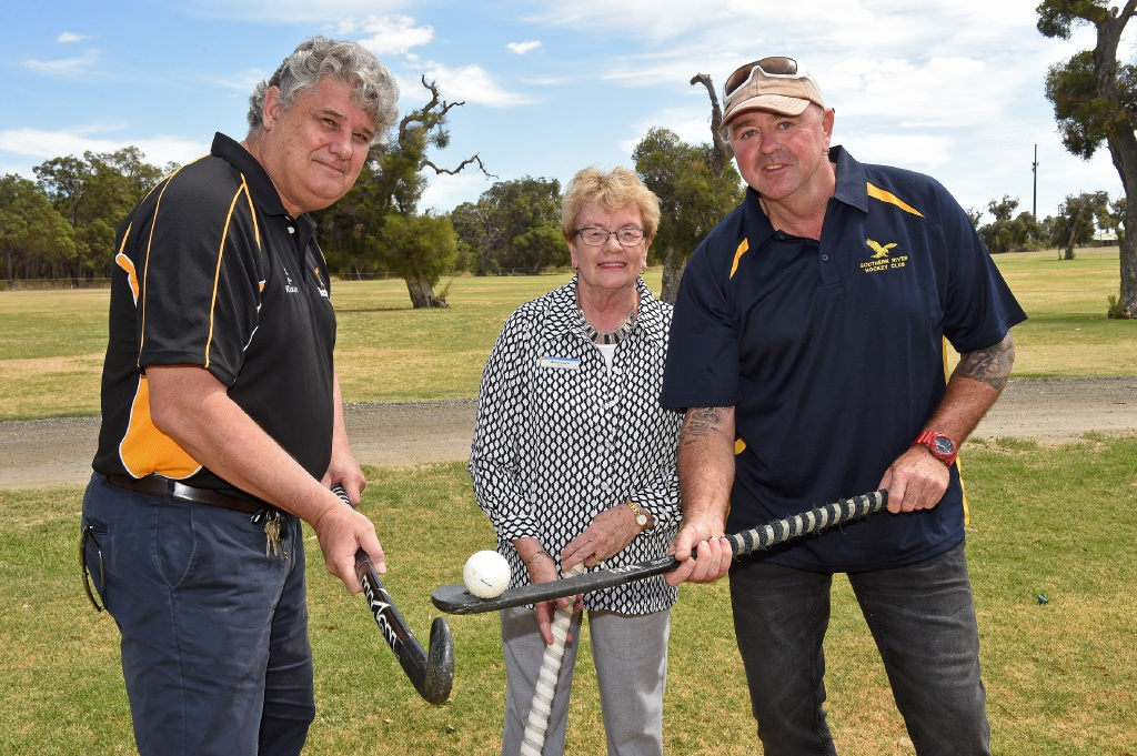 Hockey WA CEO Peter Churack, Gosnells Mayor Olwen Searle and Southern River Hockey Club president John Heath say the club's fortunes will lift with the arrival of synthetic turf. Picture: Jon Hewson        www.communitypix.com.au   d451357