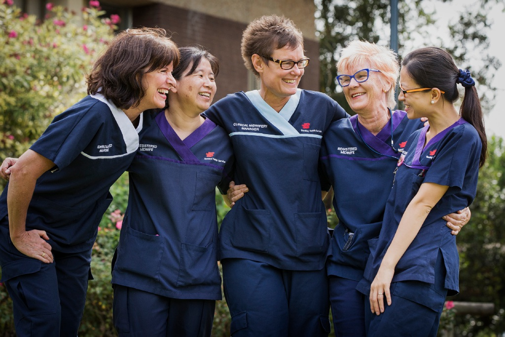 Nurses Robyn Searle, Midori Moore, Zena Robinson, Bev Davis and Zoe Lo are happy at the news the maternity unit at Bentley Hospital will stay open until at least 2018.  Picture: Will Russell    d451096