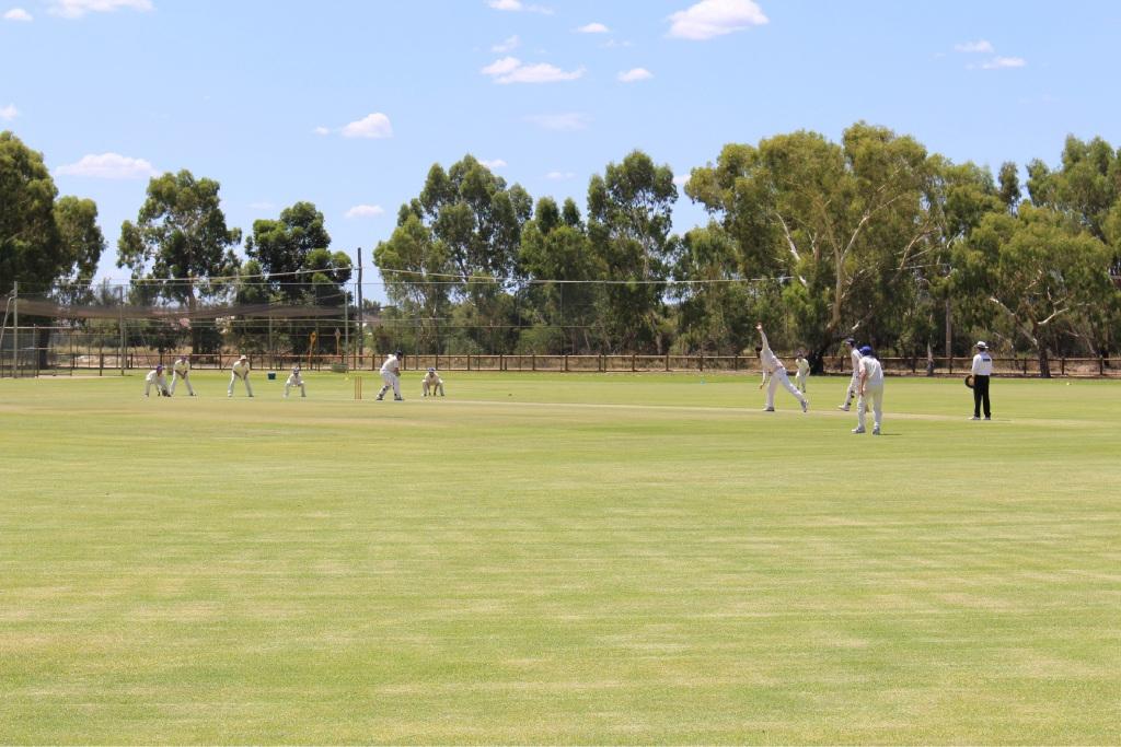 Fremantle batsman Christopher Wood facing up against Gosnells.