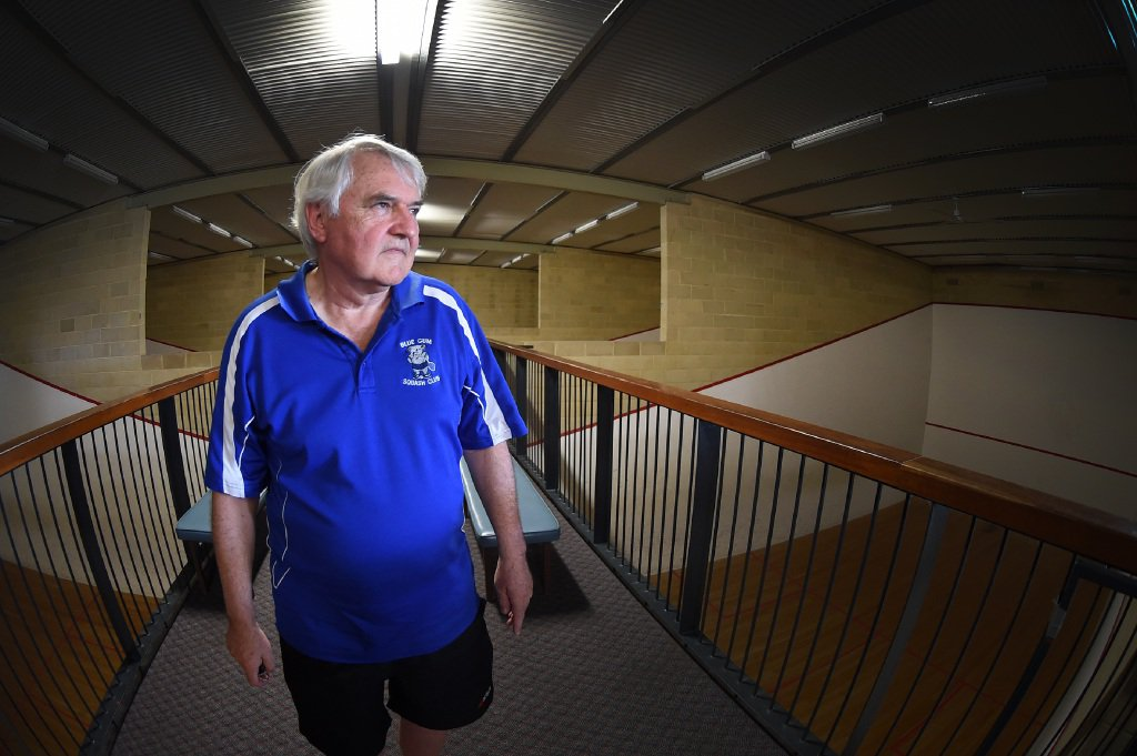 Ric Nicholas, former president of the Blue Gum Squash Club, has levelled accusations of mismanaged funds against the tennis club. Picture: Jon Hewson        www.communitypix.com.au   d449957