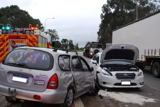Two of the vehicles involved in the collision.